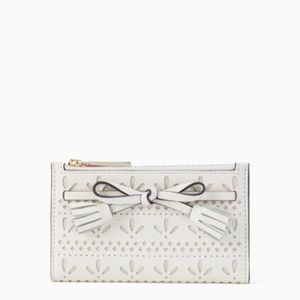 Kate Spade White Hayes Perforated Small Wallet